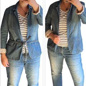Cute  jean jacket blazer w/ nautical print. mango
